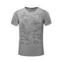 Math Formula Letter Printed Round Neck Short Sleeve Tee