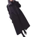 Notched Lapel Collar Long Sleeve Plain Tunic Woolen Coat
