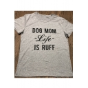 DOG MOM Letter Printed Round Neck Short Sleeve T-Shirt