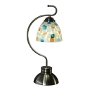 Colored Shell Accent Tiffany Glass Table Lamp with Cured Arm in Aged Brass Finish
