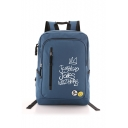 Letter Crown Printed Zippered Large Capacity Backpack School Bag