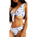 Vintage Knotted Front Marble Printed Sleeveless Bikini