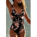 Hollow Out Back Floral Printed V Neck Sleeveless Slim One Piece Swimwear