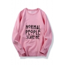 NORMAL PEOPLE Letter Printed Long Sleeve Round Neck Sweatshirt