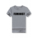 Round Neck FEMINIST Letter Printed Short Sleeve T-Shirt