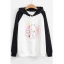 Color Block Cartoon Cat Chinese Raglan Long Sleeve Loose Hoodie