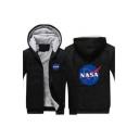 NASA Letter Graphic Printed Leisure Long Sleeve Zip Up Hooded Jacket