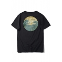 Letter Wave Printed Round Neck Short Sleeve T-Shirt
