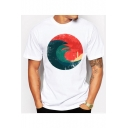 Abstract Sea Wave Printed Round neck Short Sleeve Tee