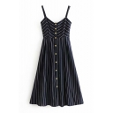 Button Front Striped Printed Spaghetti Straps Sleeveless Midi Cami Dress