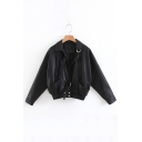 Lapel Collar Long Sleeve Elastic Hem Crop Leather Biker Jacket