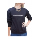 ARIANA Letter Printed Round Neck Long Sleeve Sweatshirt