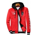 Letter Graphic Printed Contrast Hood Long Sleeve Zip Up Hooded Jacket