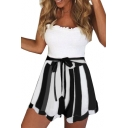 Bow Tie Waist Striped Loose Leisure Shorts