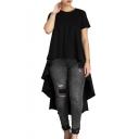 Round Neck Short Sleeve Plain Asymmetric Hem T-Shirt