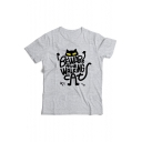 Letter Cat Printed Round Neck Short Sleeve T-Shir