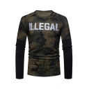 ILLEGAL Letter Camouflage Printed Round Neck Long Sleeve Slim T-Shirt