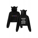 WISH YOU WERE HERE Letter Printed Round Neck Long Sleeve Crop Hoodie