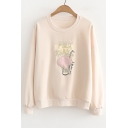 MILK Letter Drink Embroidered Round Neck Long Sleeve Sweatshirt