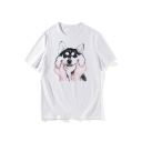 Lovely Dog Printed Short Sleeve Round Neck T-Shirt