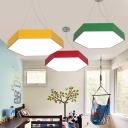 Contemporary Multicolors Metal Hexagon Shade Led Pendant Lights 11.8