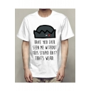 HAVE YOU EVER SEEN Letter Hat Printed Round Neck Short Sleeve Tee