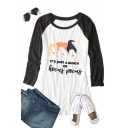 Color Block Raglan Long Sleeve Letter Character Printed Round Neck Casual Tee