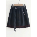 Pleated Detail Hem Cat Embroidered Elastic Waist Mini A-Line Skirt with Belt
