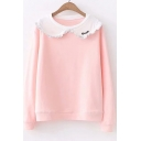 Letter Embroidered Doll Collar Long Sleeve Leisure Sweatshirt
