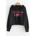 CALIFORNIA 1987 Letter Printed Long Sleeve Crop Hoodie