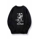 Skull ALL MONSTER Printed Round Neck Long Sleeve Sweatshirt
