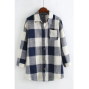 Chic Plaid Printed Lapel Collar Long Sleeve Button Up Loose Shirt