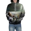 Skull Astronaut Printed Long Sleeve Unisex Hoodie