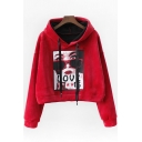 LOVE Letter Character Printed Long Sleeve Velvet Crop Hoodie