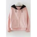 Chic Long Sleeve Contrast Hood Zip Up Hooded Jacket