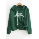 URBAN Letter Printed Asymmetric Drawstring Hem Long Sleeve Leisure Hoodie