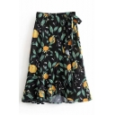 Lemon Leaf Printed Ruffle Trim Midi Wrap Skirt