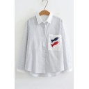 Fish Applique Lapel Collar Striped Long Sleeve Button Front Shirt