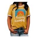 HAPPY Letter Landscape Printed Contrast Trim Round Neck Short Sleeve Tee