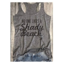 NO ONE LIKES Letter Printed Round Neck Sleeveless Tank