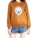 Comic Hat Lion Printed Round Neck Long Sleeve Sweatshirt