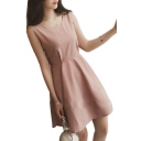 Bow Tie Back Round Neck Sleeveless Plain Mini A-Line Dress