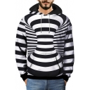 3D Color Block Striped Geometric Printed Long Sleeve Hoodie