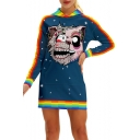 Rainbow Striped Trim Cartoon Printed Long Sleeve Slim Mini Hooded Dress