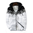 Color Block Contrast Striped Letter Printed Long Sleeve Zip Up Hooded Jacket