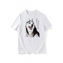 Comic Painting Husky Printed Round Neck Short Sleeve Tee
