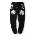 Letter Paw Printed Camouflage Patchwork Drawstring Waist Loose Cuffed Pants