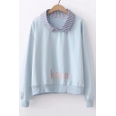 Contrast Striped Lapel Collar HEAR Letter Embroidered Long Sleeve Tee