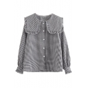 Lapel Collar Button Down Long Sleeve Plaid Blouse