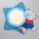 Lovely Star and Bear LED Flushmount Baby Kids Room Acrylic Single Head Ceiling Lamp in Blue